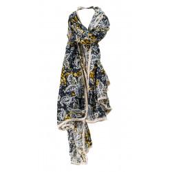 Foulard femme coton noir et jaune Bengali