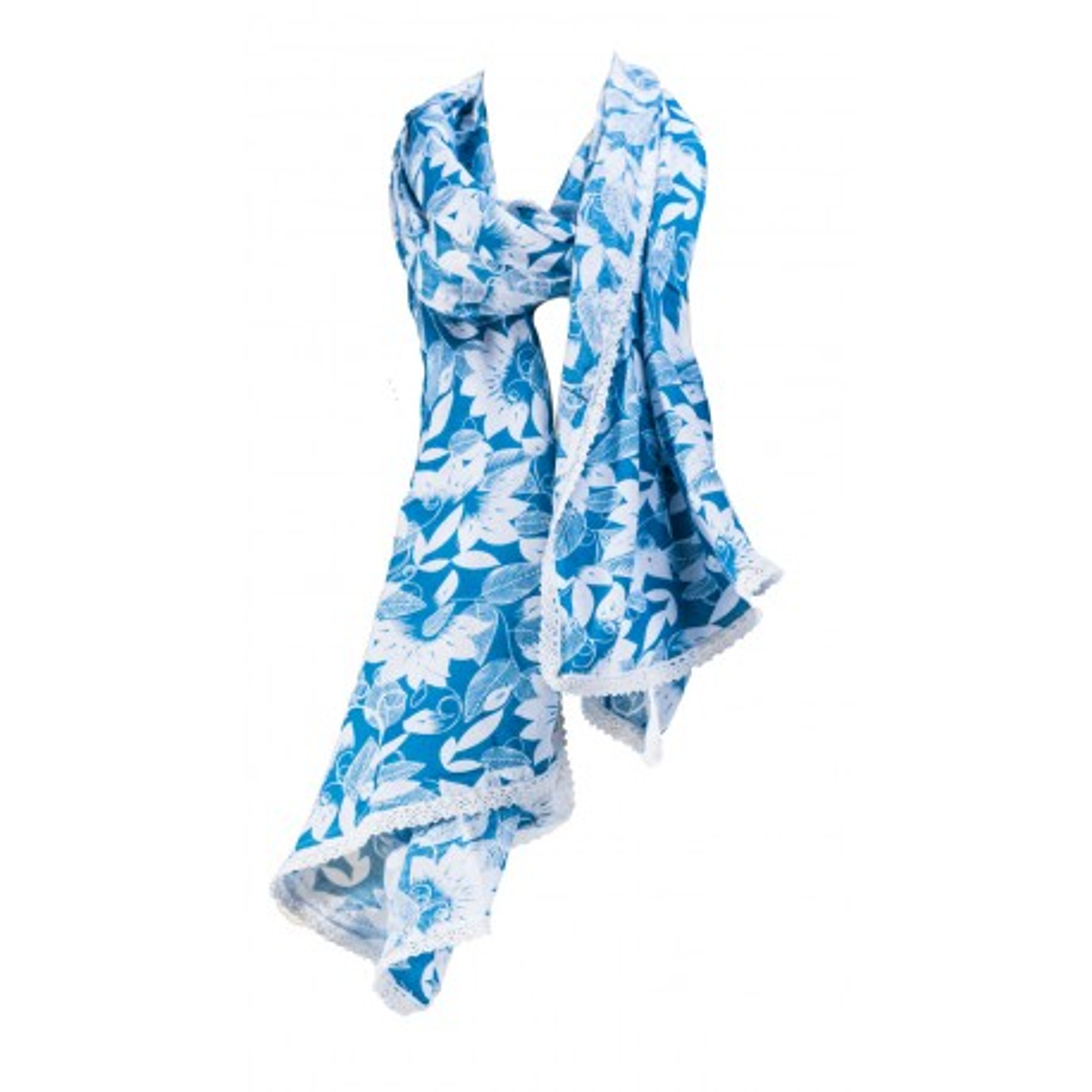 Foulard femme coton bleu Blue garden