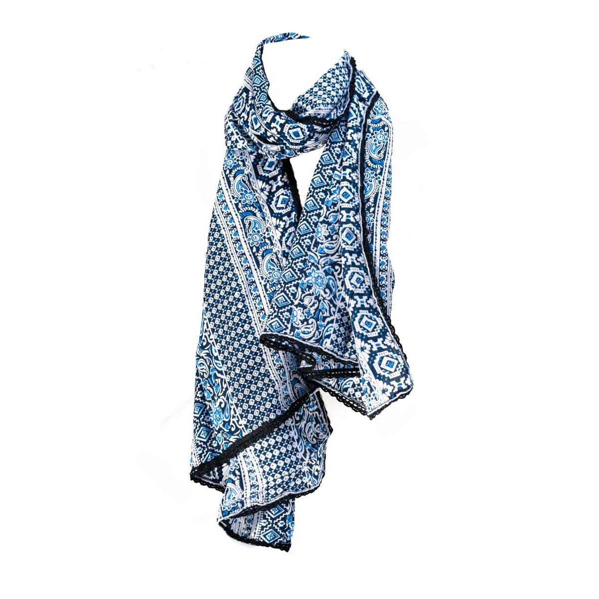 Foulard femme coton bleu Maya