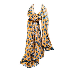 Foulard femme coton jaune et bleu Panah