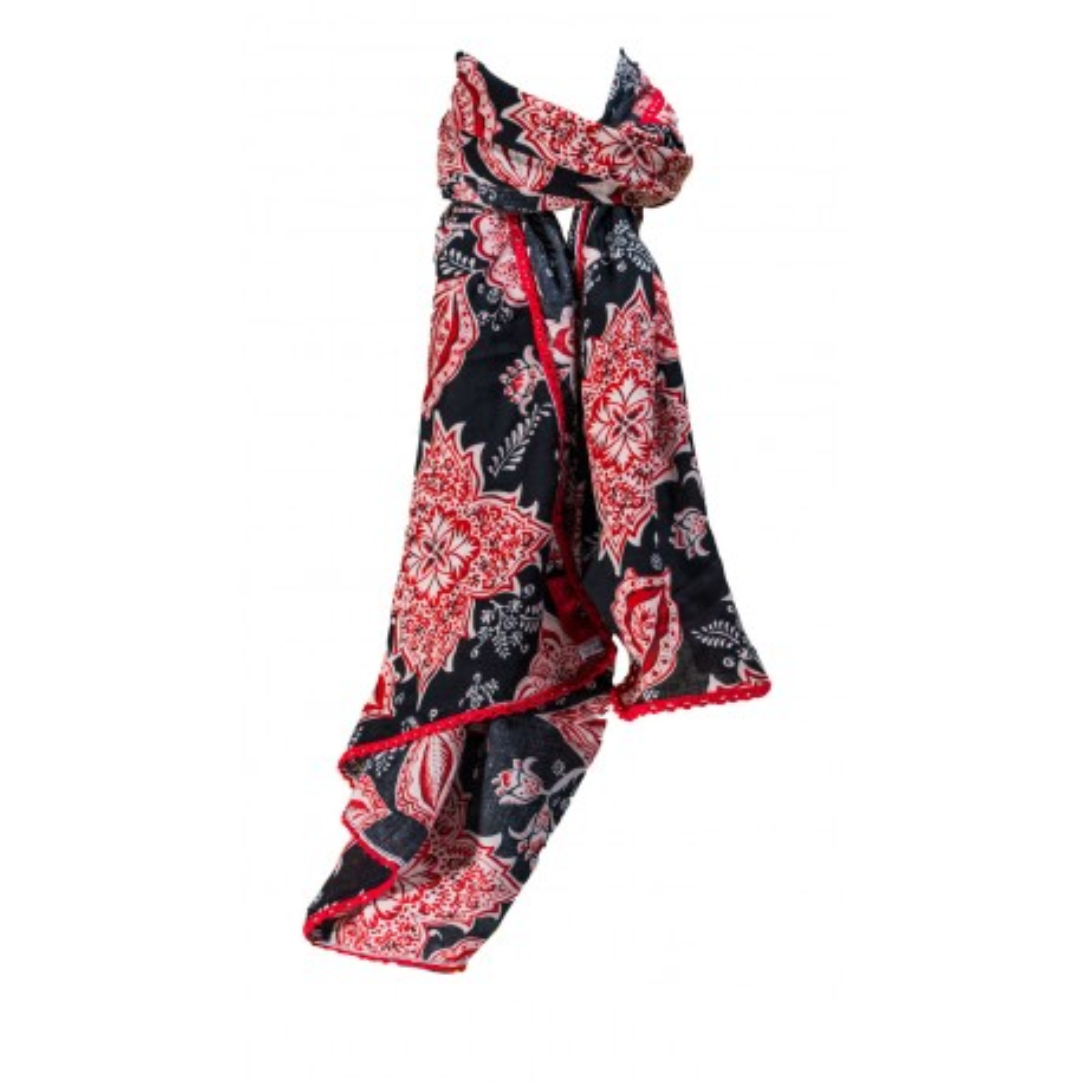 Foulard femme coton rouge et noir Sari