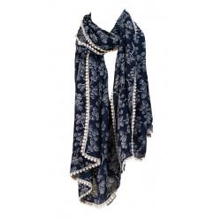 Foulard femme coton bleu Small tree