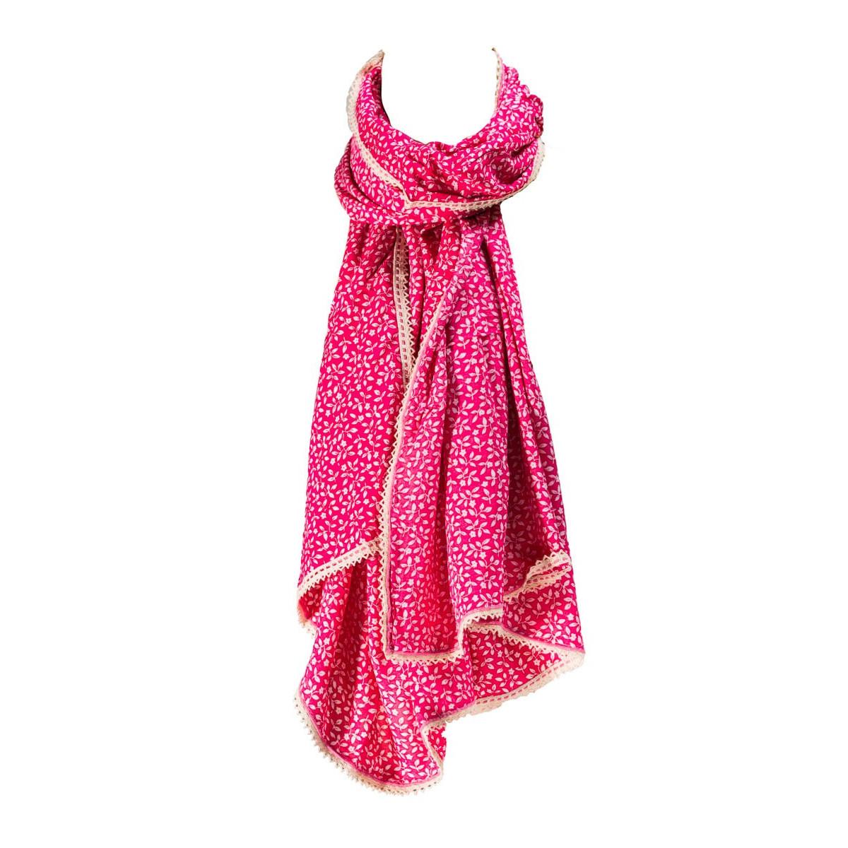 Foulard femme coton rose Summer leaves