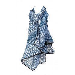 Foulard femme coton bleu Summer leaves