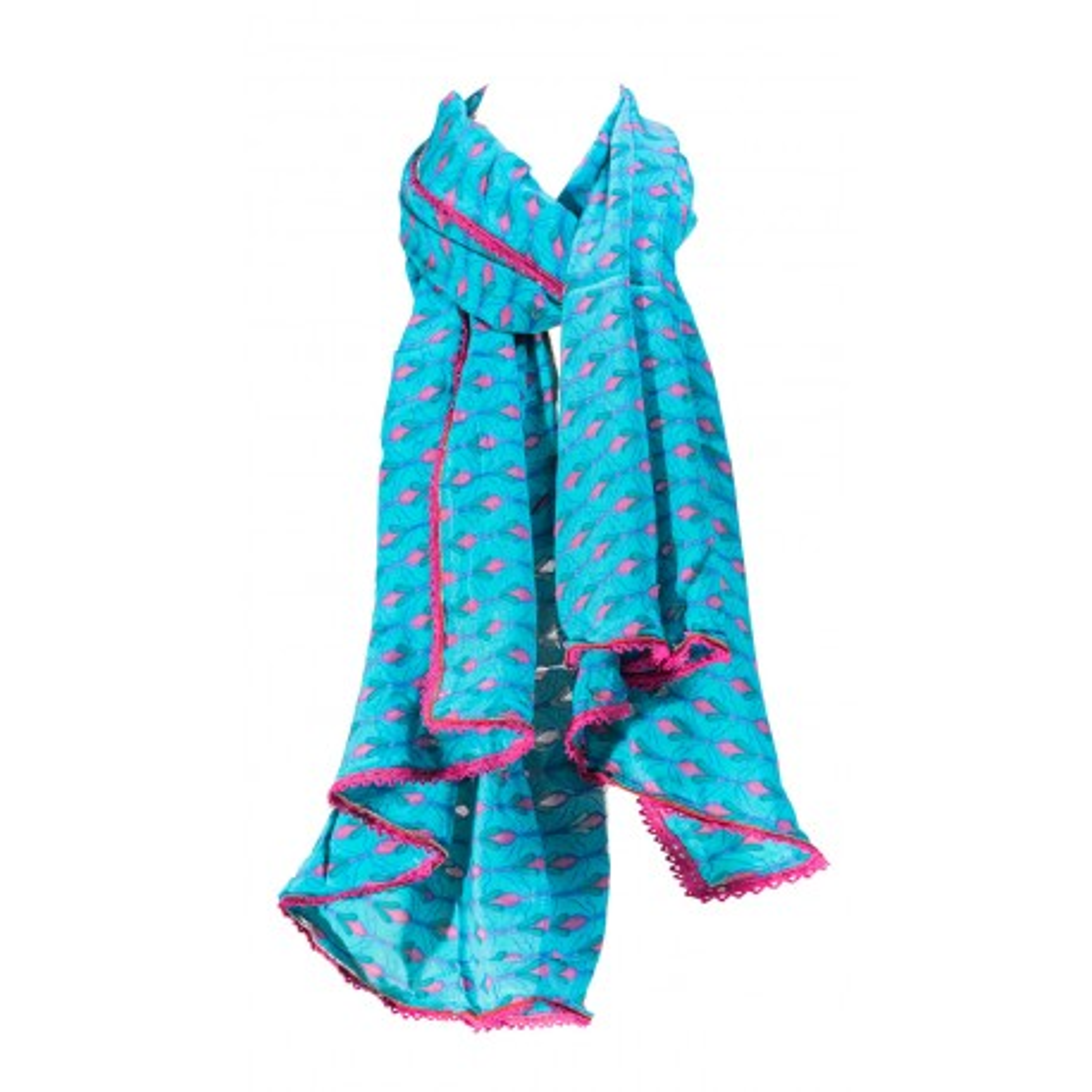 Foulard femme coton rose et bleu Tulipe