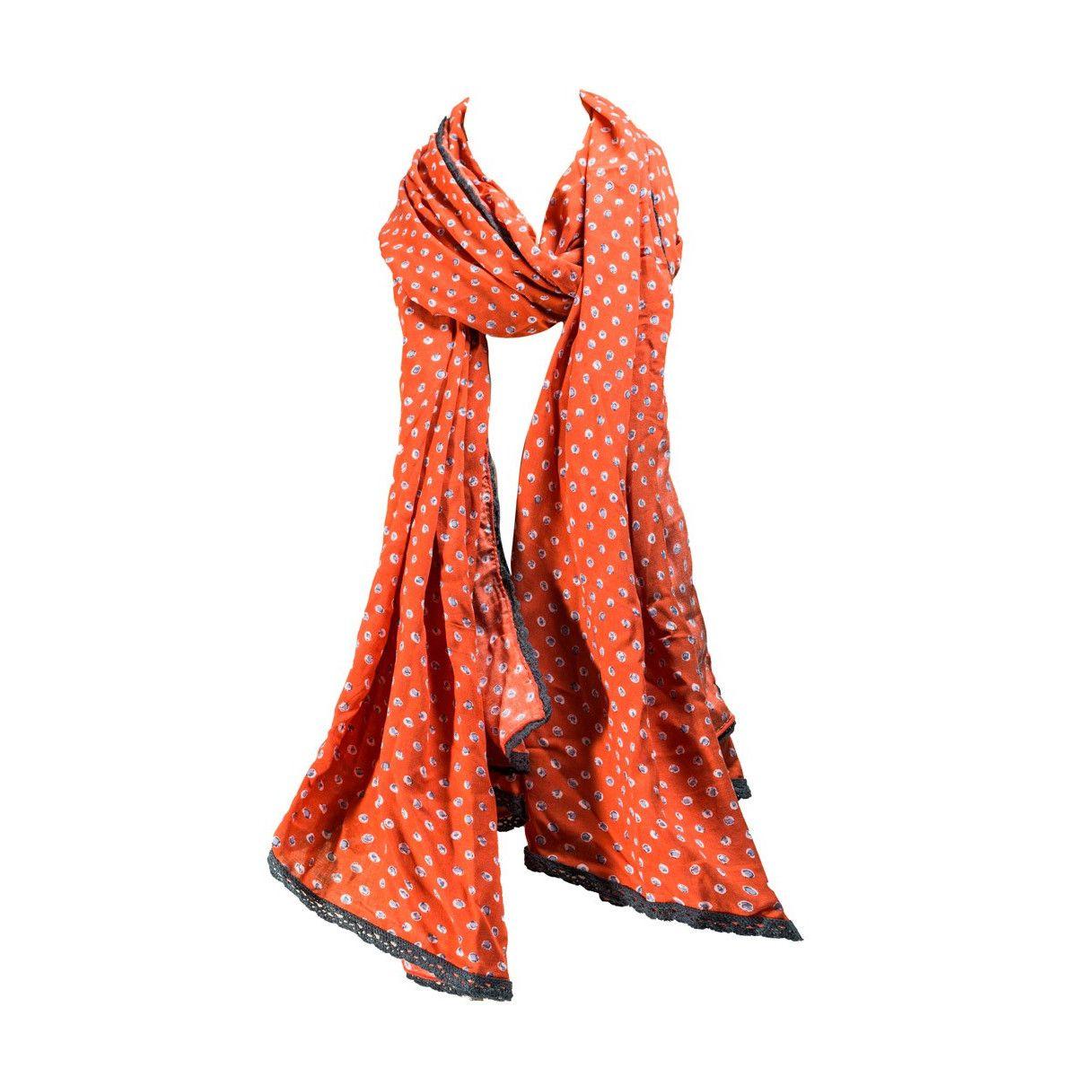 Foulard femme coton orange Yuki