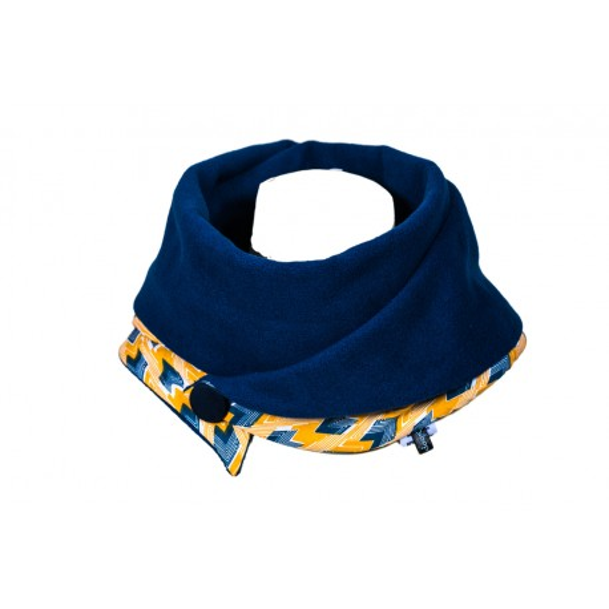 Echarpe polaire femme tissu fantaisie jaune et bleu