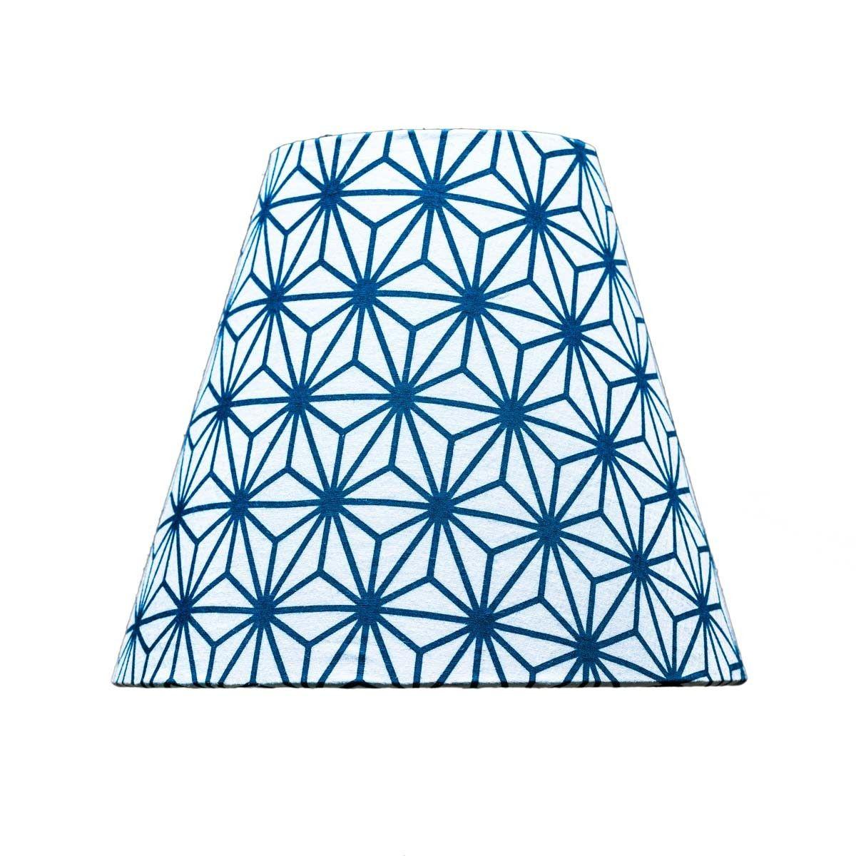 Abat-jour lampe de chevet tissu imprimé design Asanoha bleu
