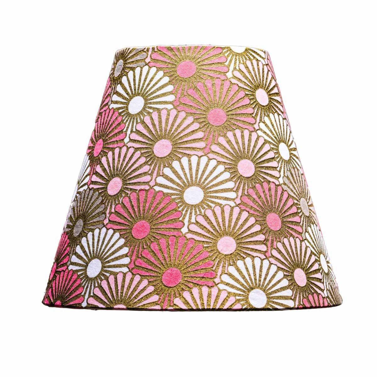 Abat-jour lampe de chevet tissu imprimé original or et rose
