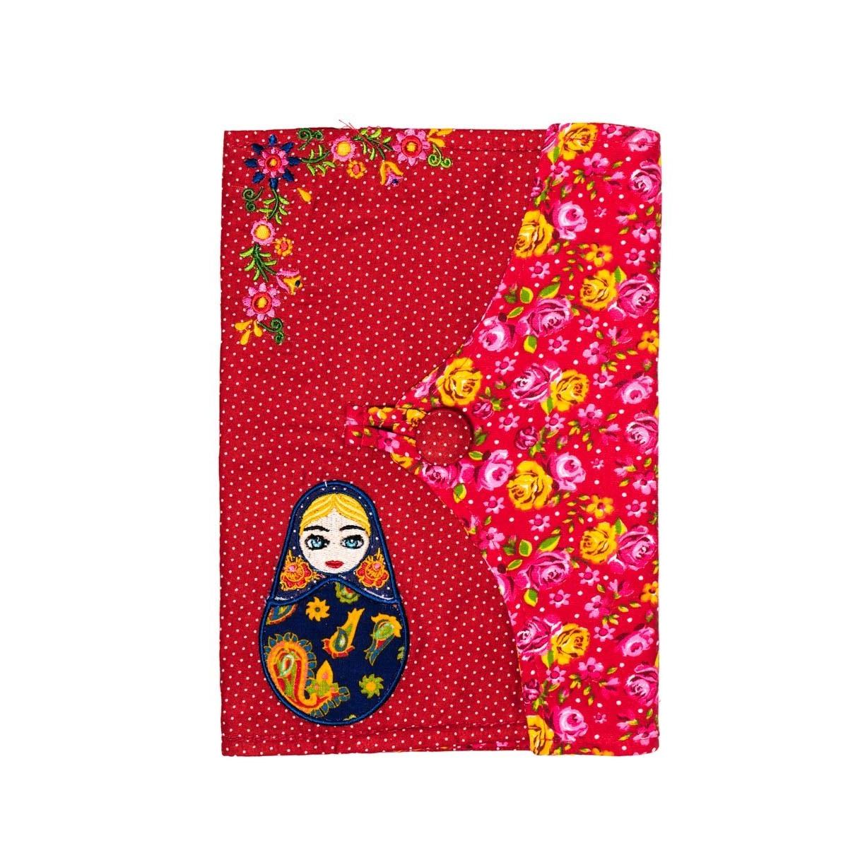 Protège carnet de santé fille tissu original Matriochka