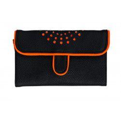 Portefeuille femme original orange et noir
