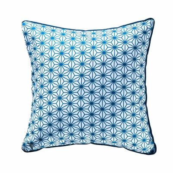 Coussin carré Asanoha bleu