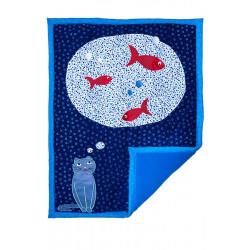 Couverture naissance déco chambre bébé chat et poisson
