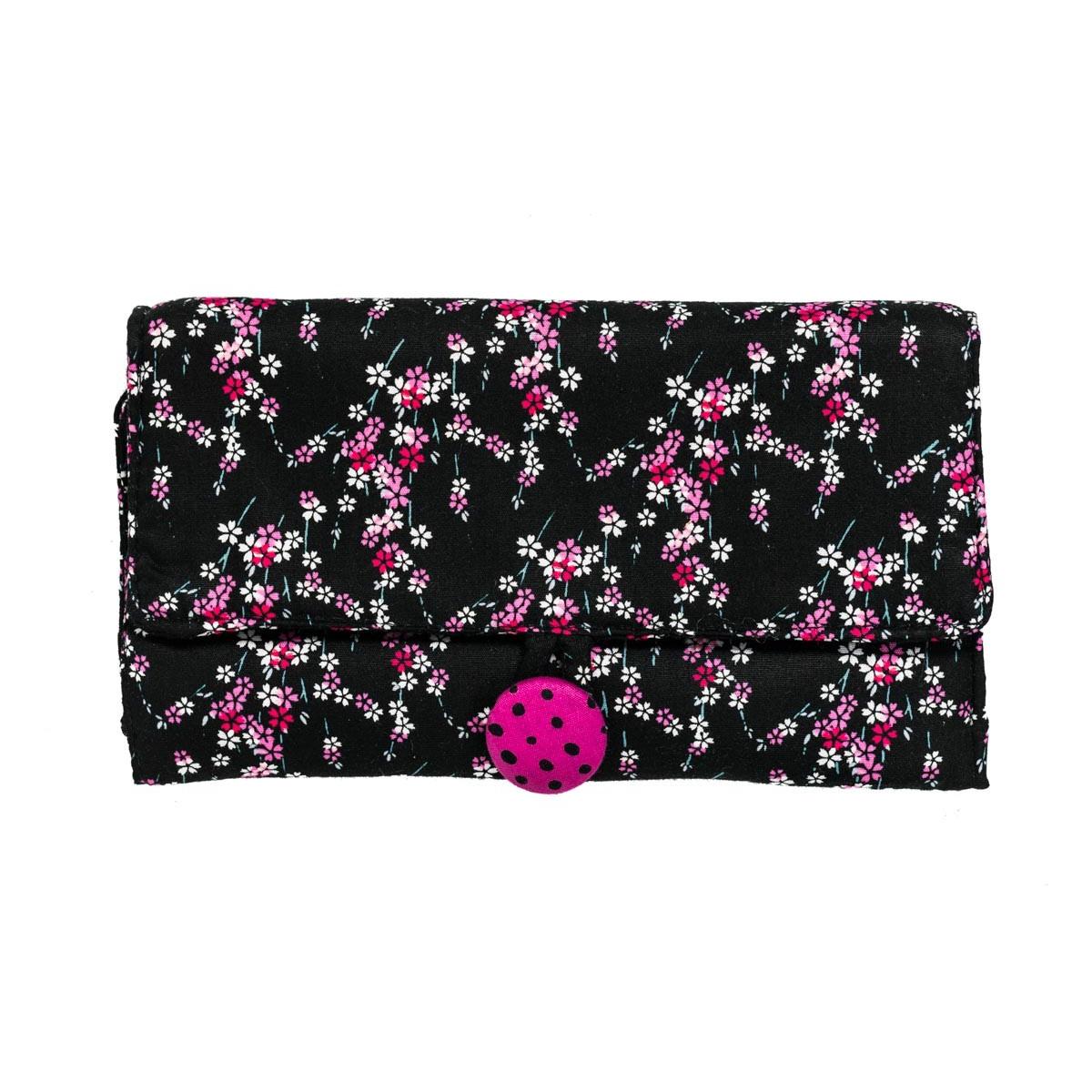 Pochette à bijoux de voyage coton créateur fleurs rose et noir