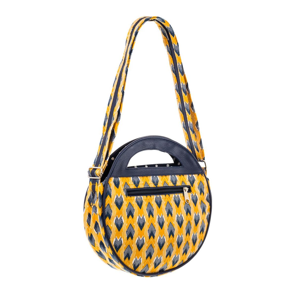 Sac femme bandoulière rond tissu créateur jaune et bleu