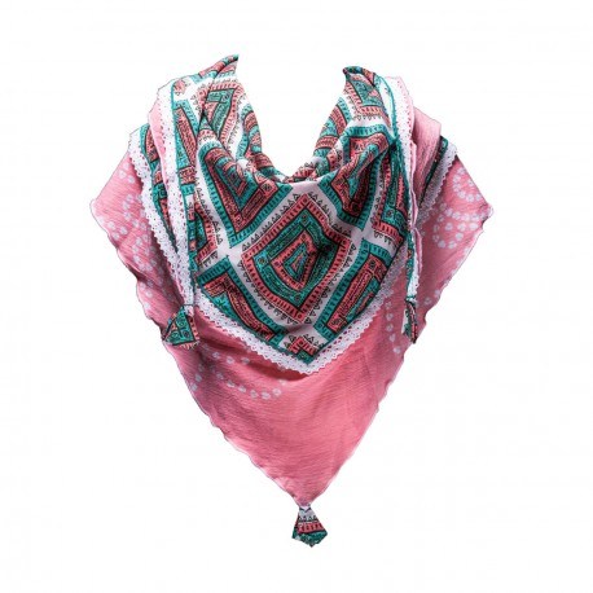 Foulard triangle fille coton rose et vert
