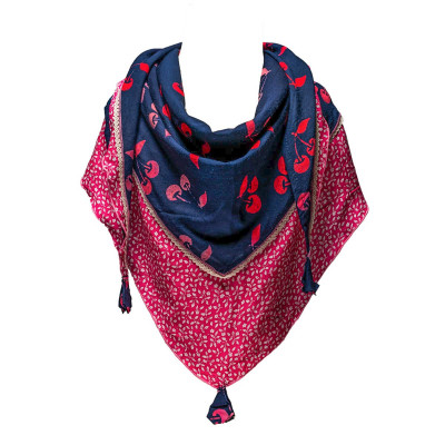 Foulard triangle fille coton rose et bleu