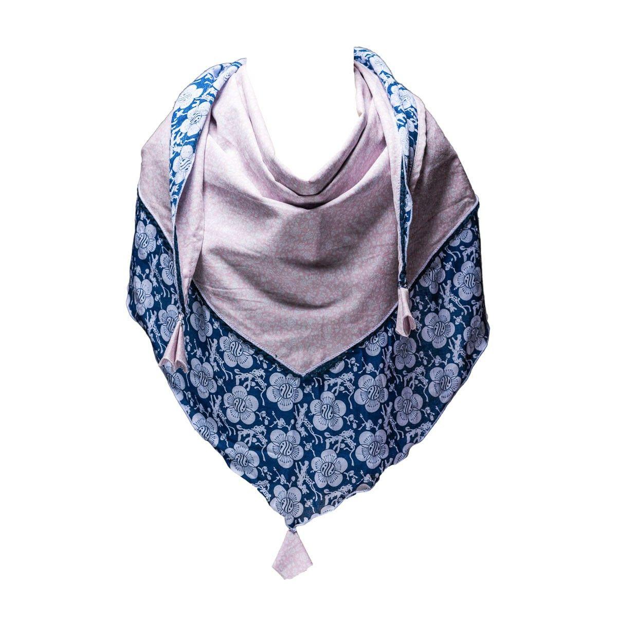 Foulard triangle fille coton rose pâle et bleu