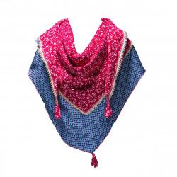 Chèche triangle fille coton rose et bleu