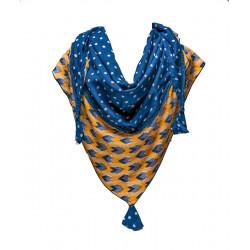 Chèche triangle coton jaune et bleu