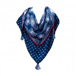 Foulard triangle coton bleu et rouge