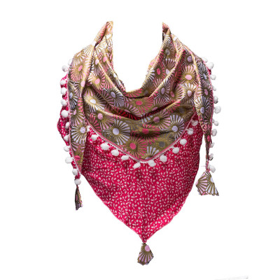 Foulard fille triangle coton or et rose