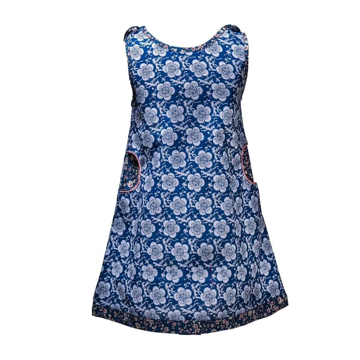 Robe été 2-8 ans coton créateur bleu marine