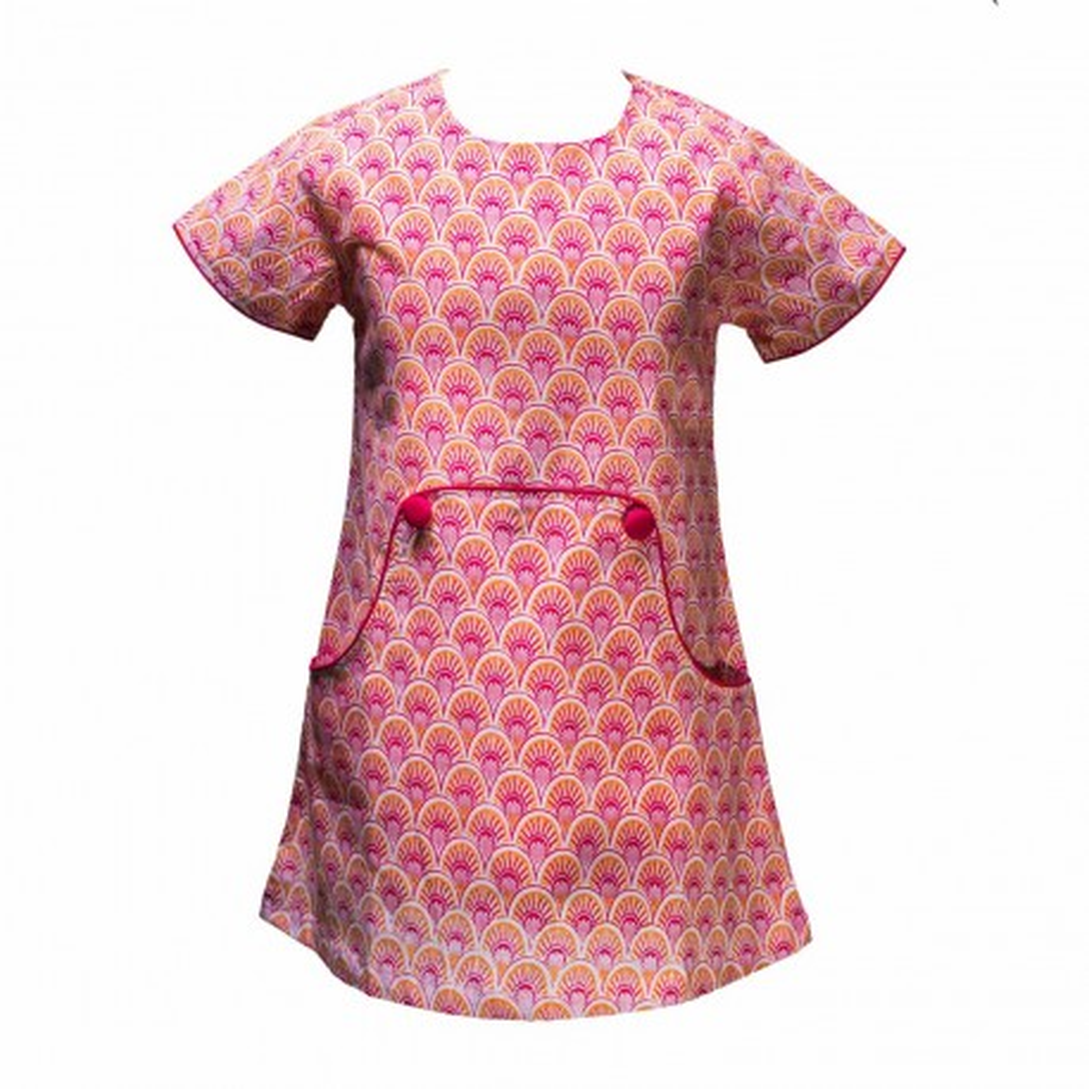 Robe trapèze Louisa 2-8 ans coton rose et orange