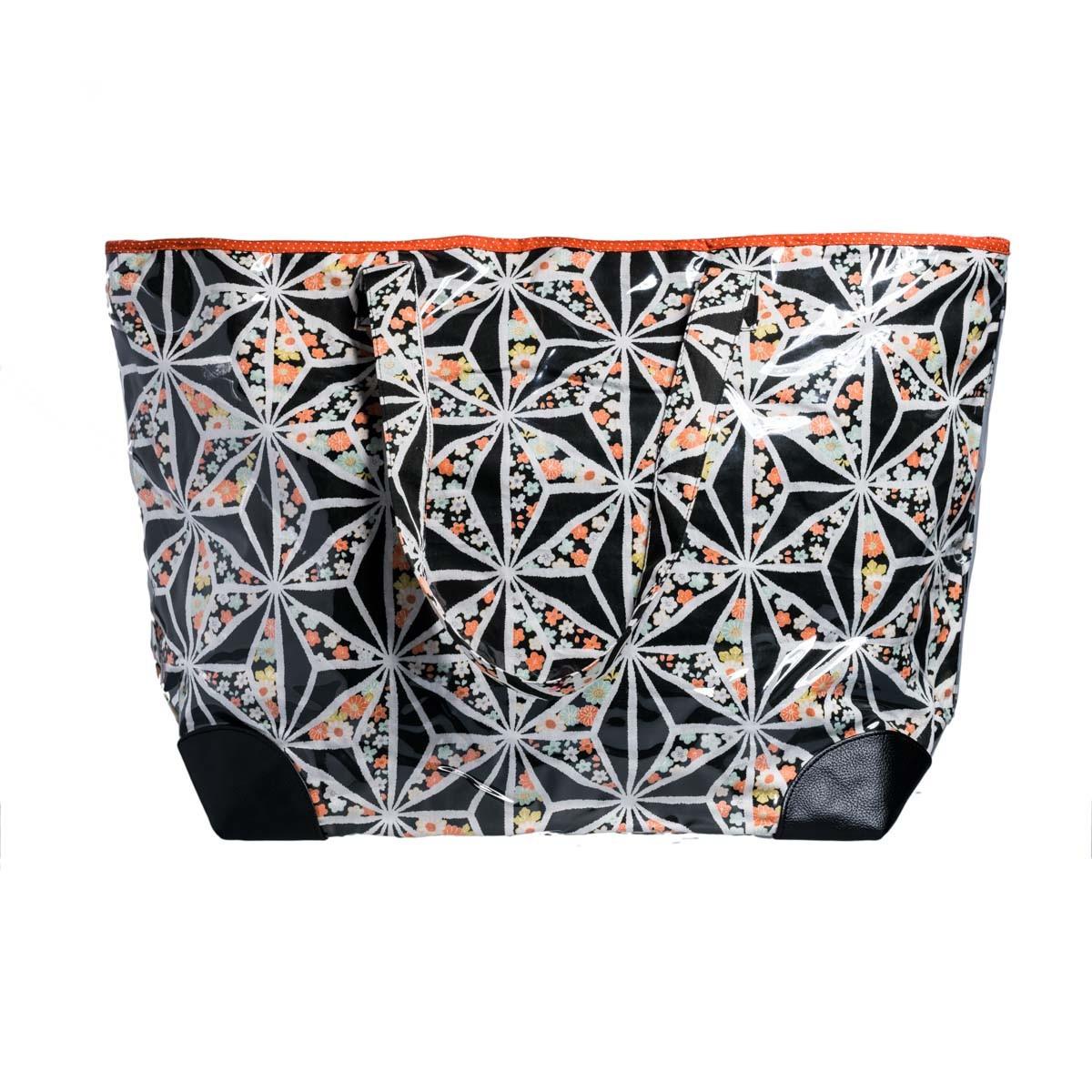 Grand sac cabas tissu original noir et orange