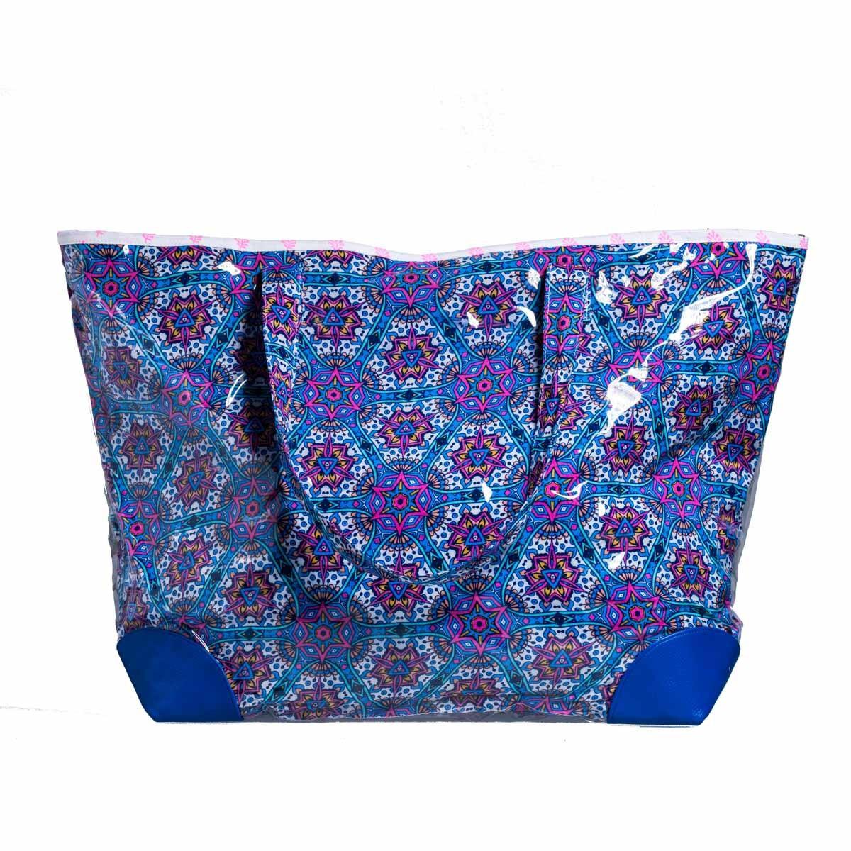 Grand sac cabas de plage bleu et violet
