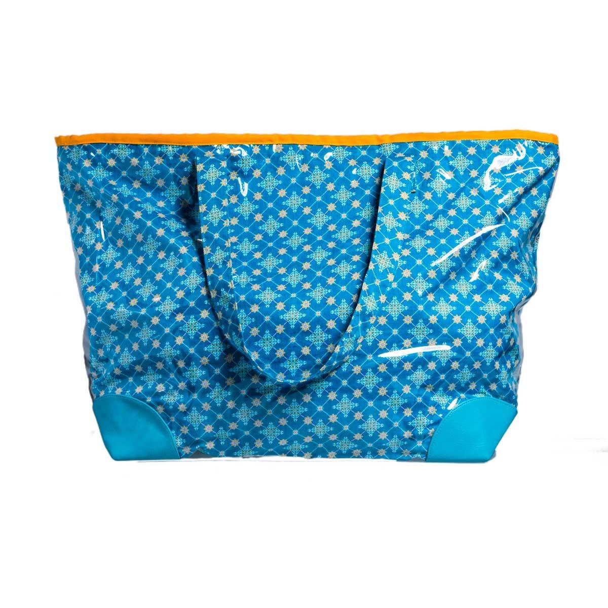 Grand sac cabas de plage tissu original et étanche bleu et jaune