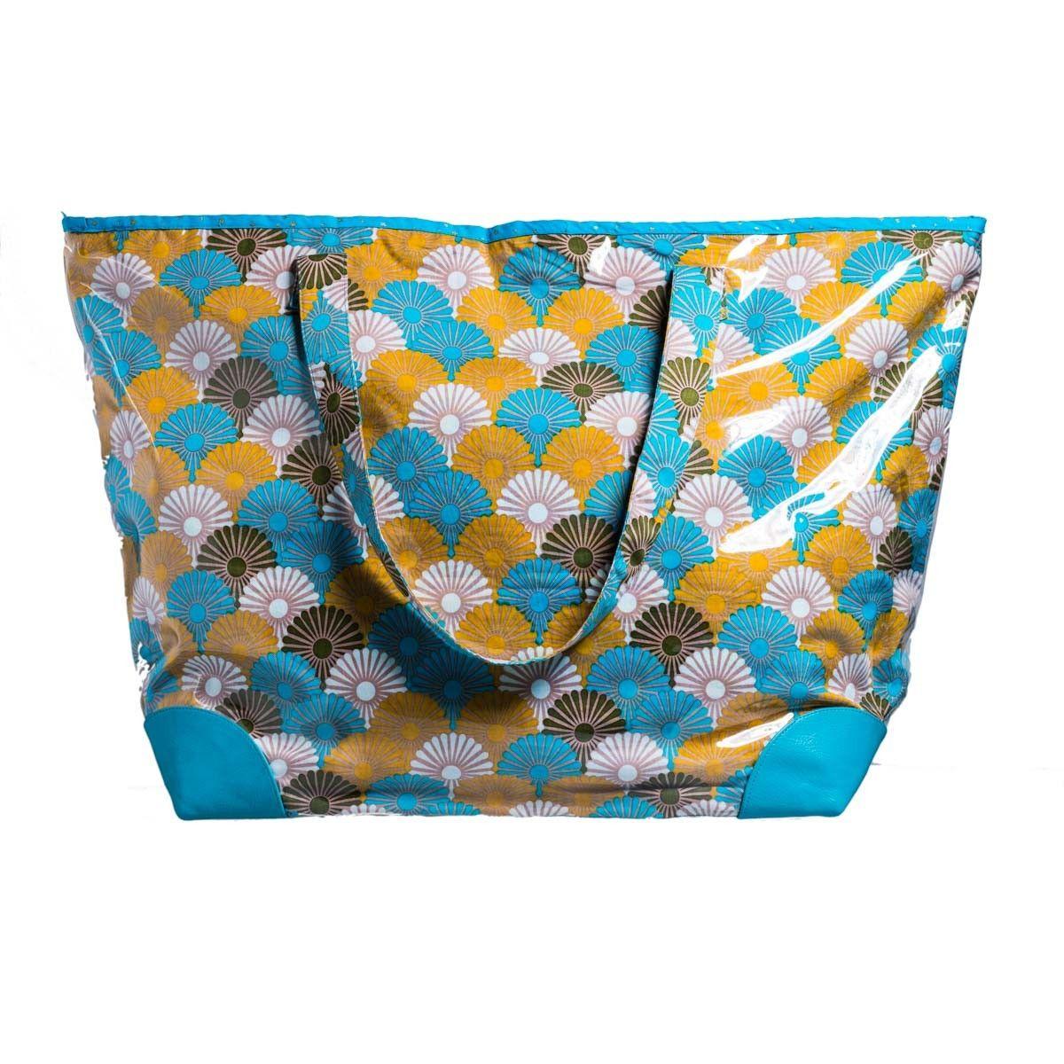 Grand sac cabas/cabas de plage Solas jaune et bleu