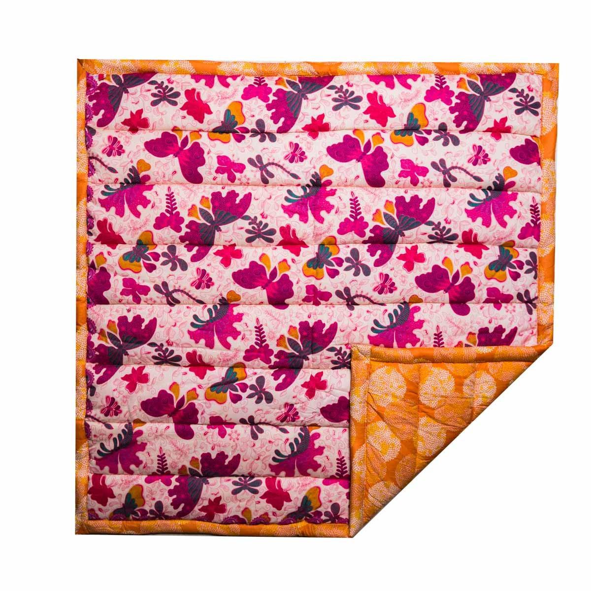 Tapis d'éveil et de jeux naissance et bébé coton papillons rose et orange