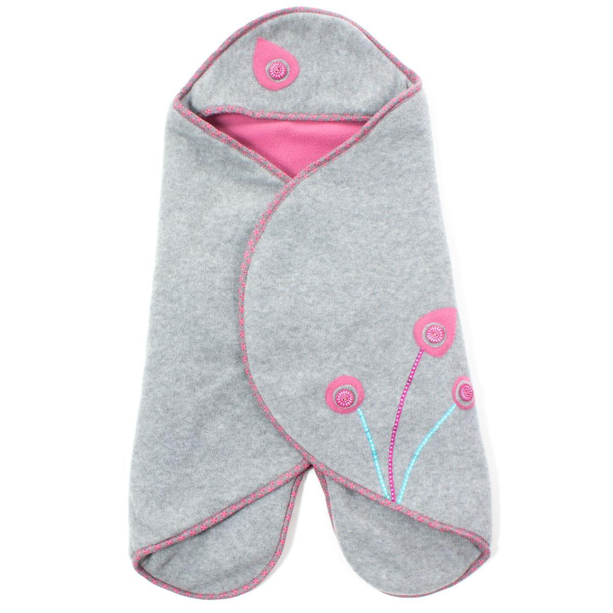 Couverture nomade polaire bébé 0-12 mois gris et rose
