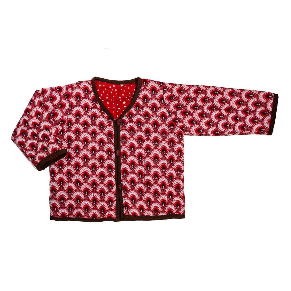 Veste bébé 0-24 mois réversible coton rouge