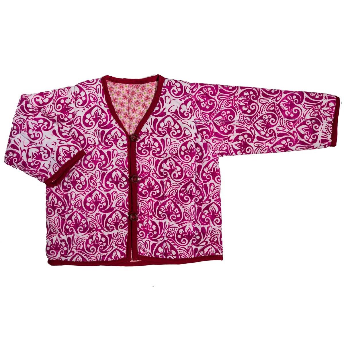 Veste fille 0-24 mois réversible coton rose