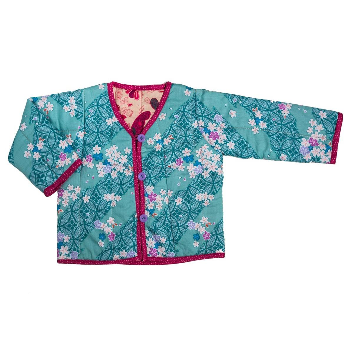 Veste fille 0-24 mois réversible coton japonais