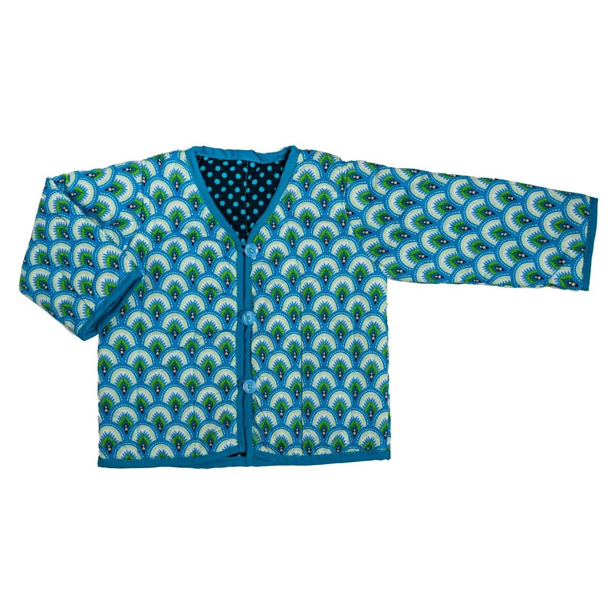 Veste bébé 0-24 mois réversible coton bleu