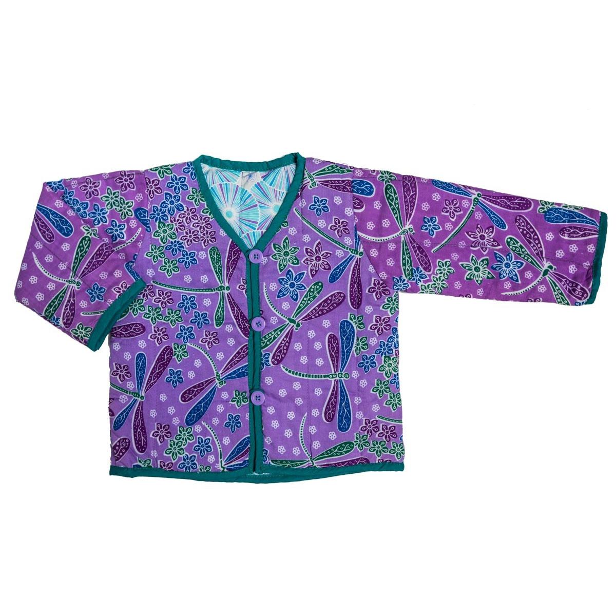 Veste fille 0-24 mois réversible coton bleu et violet