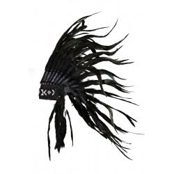 Coiffe d'indien avec vraies plumes noire