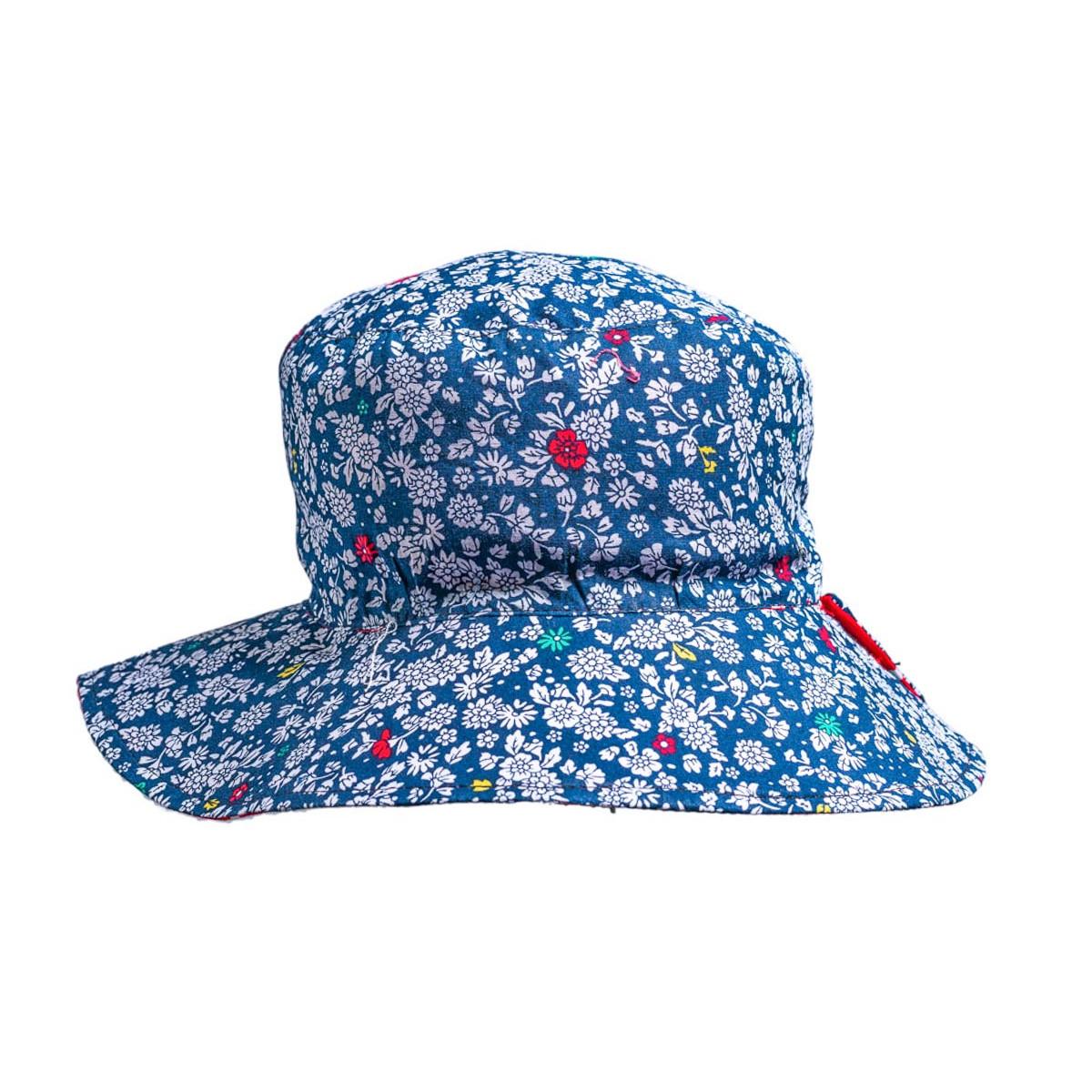Chapeau fille 2-6 ans bleu fleurs
