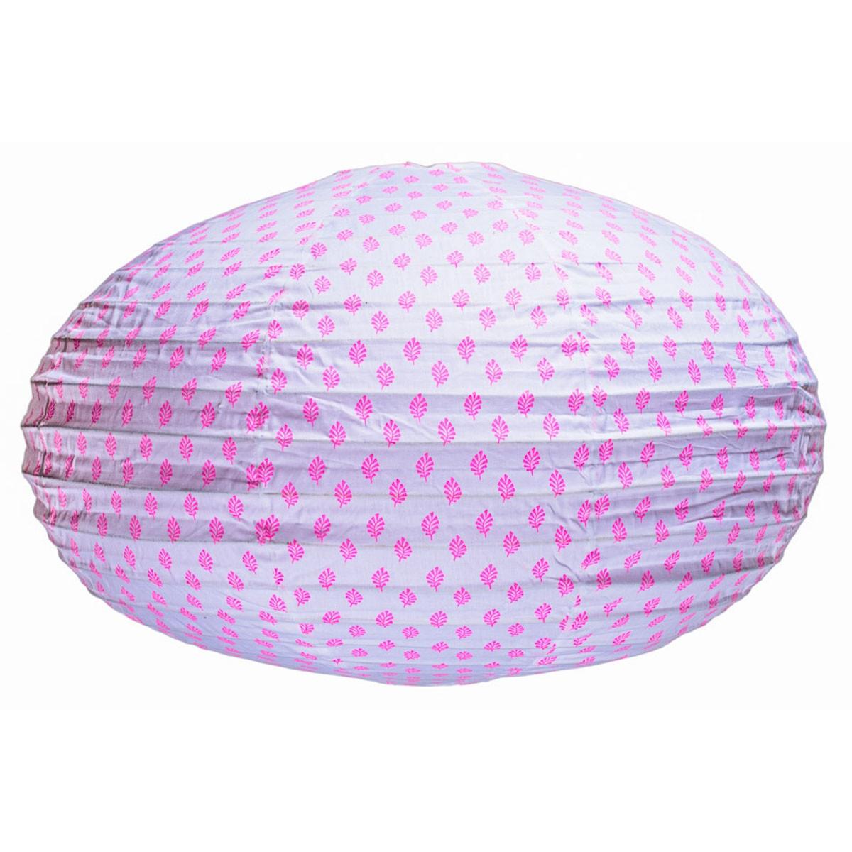 Lampion tissu ovale Feuilles Fuschia