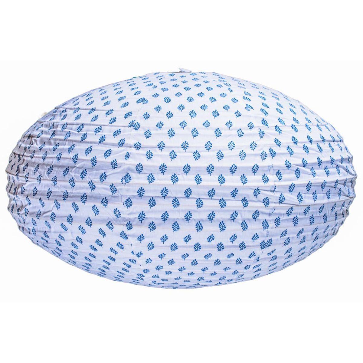 Lampion tissu ovale Feuilles Saphir
