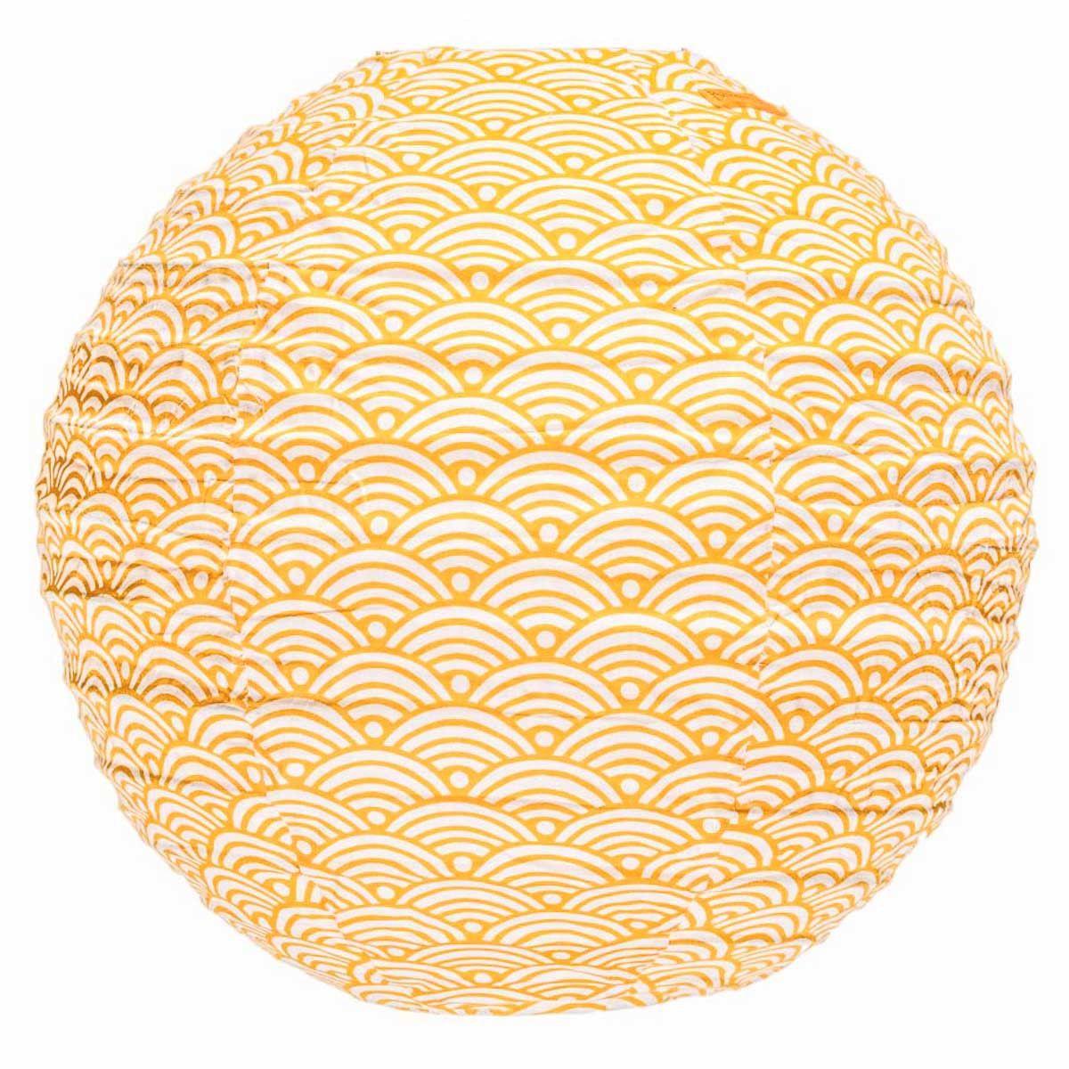 Lampion tissu rond Nami moutarde