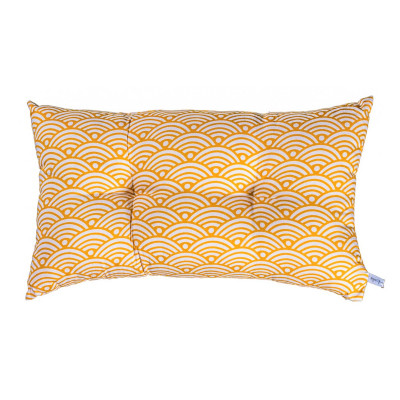 Petit coussin capitonné rectangle coton Nami moutarde