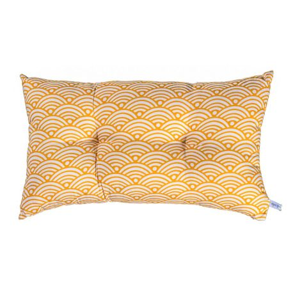 Petit coussin capitonné rectangle coton Nami moutarde