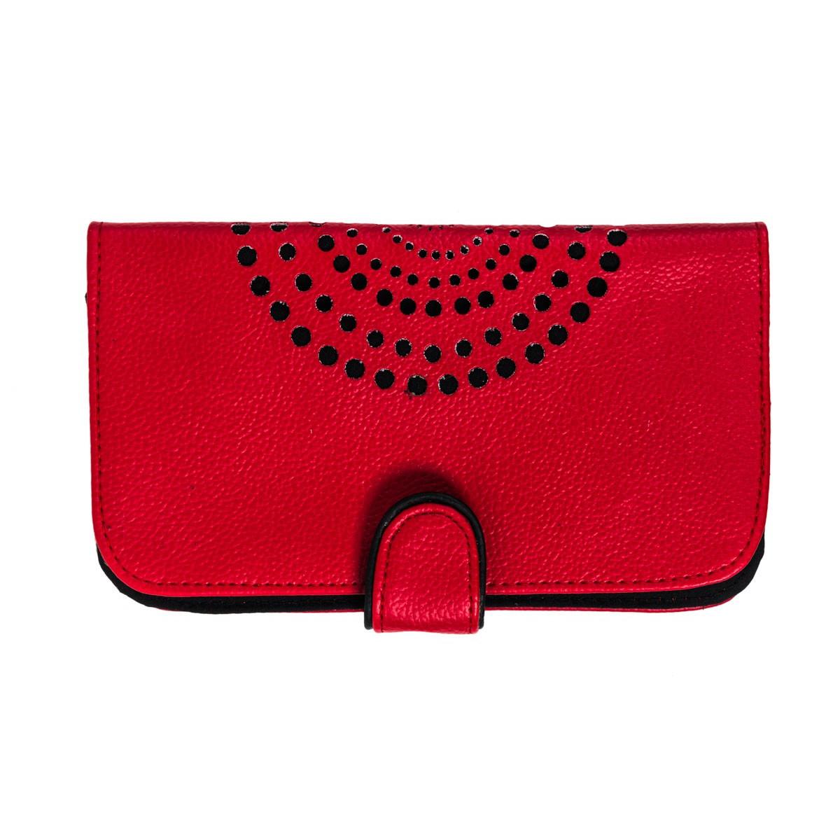 Porte-chéquier femme créateur rouge et noir