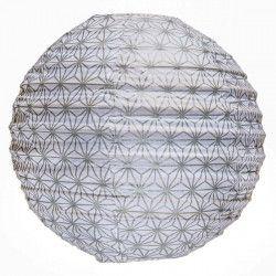 Lampion tissu rond Asanoha argent