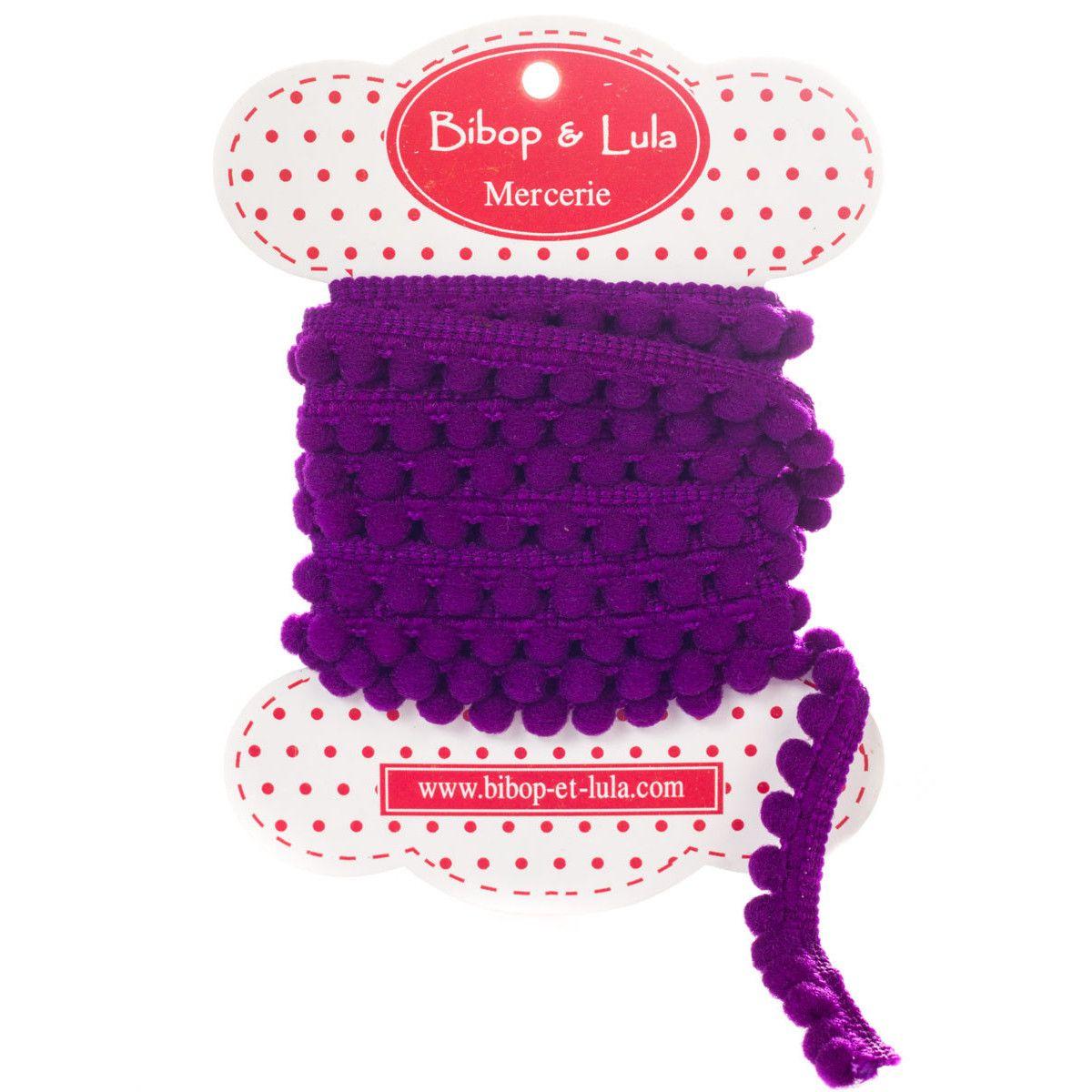 Ruban pompon violet