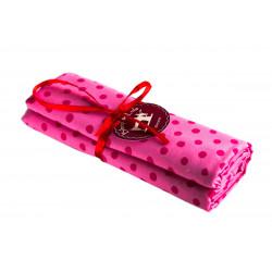 Coupon tissu Pois rose